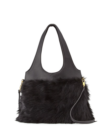 Elizabeth and James Zoe Small Fur Hobo Bag,