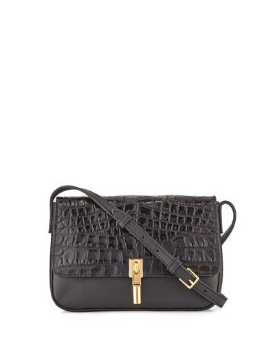 Cynnie Crocodile-Embossed Micro Crossbody Bag, Black