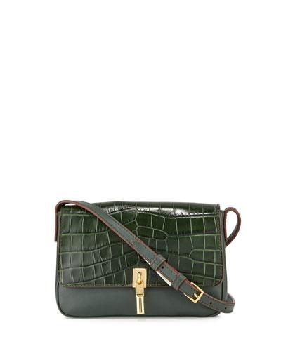 Cynnie Crocodile-Embossed Micro Crossbody Bag, Bottle Green/Black