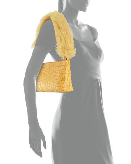 Elizabeth and James Finley Crocodile-Embossed Fur Shoulder Bag, Saffron