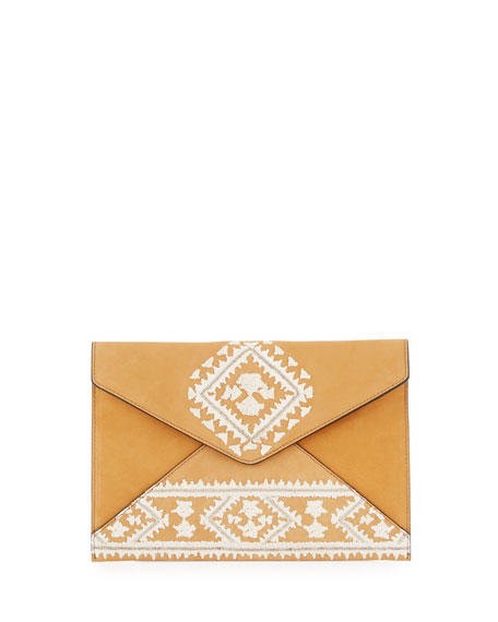 Leo Embroidered Suede Envelope Clutch Bag, Almond