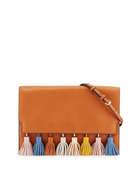 Sofia Leather Tassel Clutch Bag, Almond/Multi
