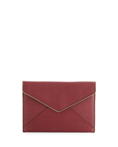Leo Saffiano Envelope Clutch Bag, Tawny Port