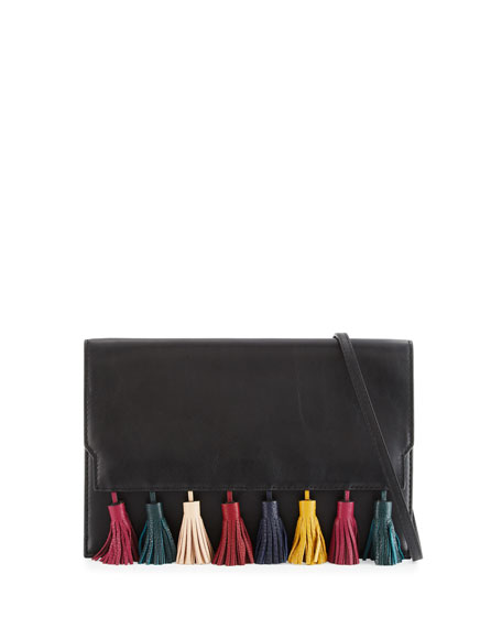 Rebecca Minkoff Sofia Leather Tassel Clutch Bag, Black/Multi