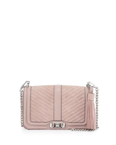 Love Quilted Turn-Lock Crossbody Bag, Vintage Pink