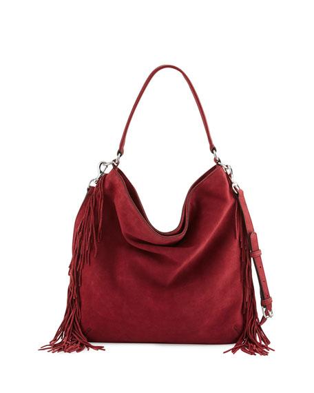 Clark Fringe Suede & Leather Hobo Bag, Tawny Port