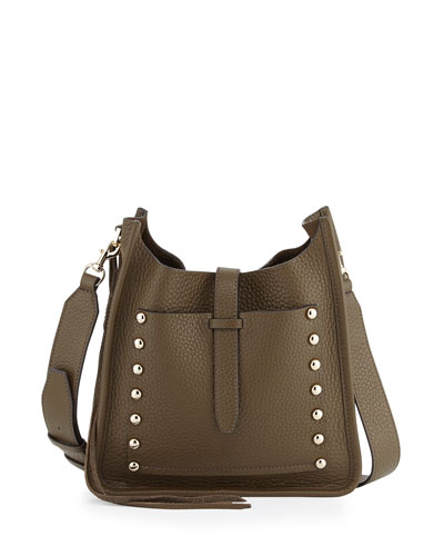 Small Unlined Leather Feed Bag, Olive