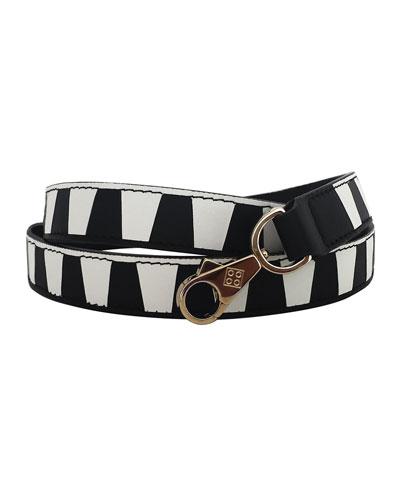 Laser-Cut Leather Strap for Handbag, Black/White