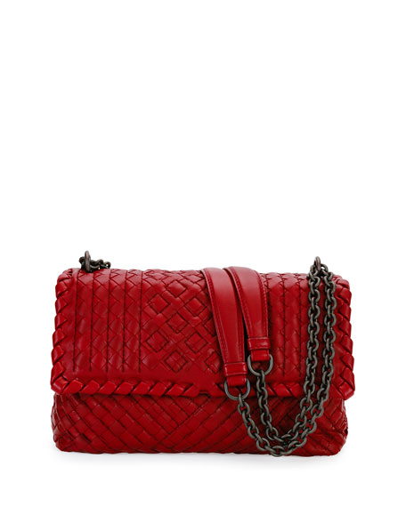 Bottega Veneta Olimpia Small Intrecciato Shoulder Bag, Bordeaux