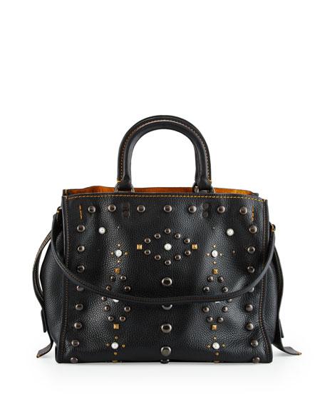 Rogue Western-Rivet Leather Satchel Bag, Black