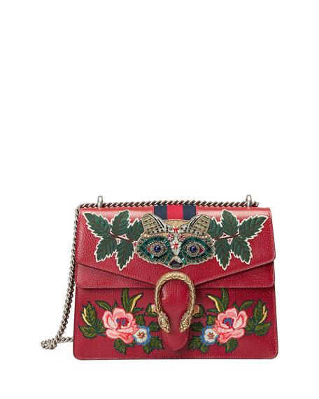 Gucci Dionysus Medium Raccoon-Embroidered Shoulder Bag, Red/Multi