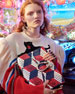 Image 2 of 5: Dionysus Medium Cubic-Python Shoulder Bag, Red/White/Blue