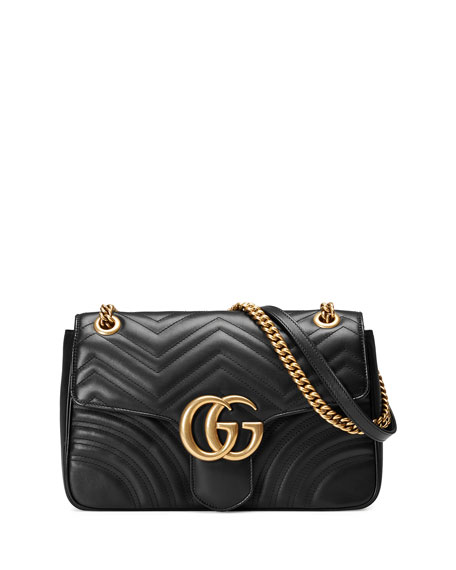 GG Marmont 2.0 Medium Quilted Shoulder Bag, Black