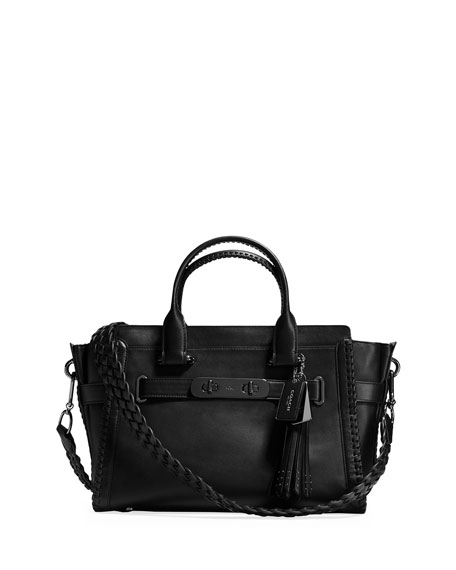 Coach Swagger Whipstitch Leather Satchel Bag, Black