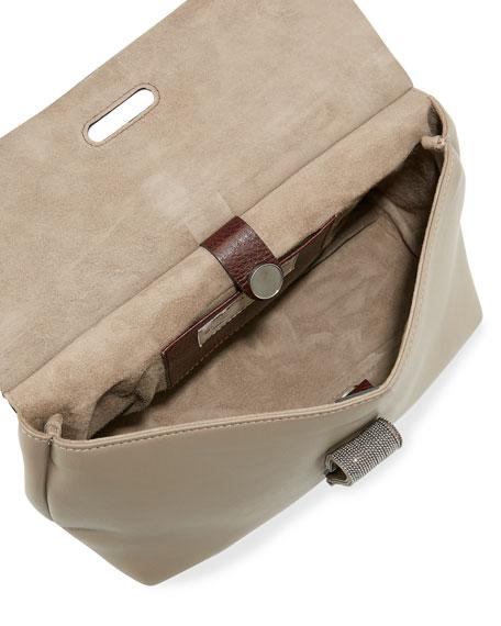 Kelly Small Satchel Bag, Brown/Bordeaux