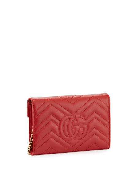 GG Marmont Mini Matelassé Chain Bag, Hibiscus Red