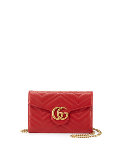 5801a12190b0 Gucci GG Marmont Mini Matelasse Chain Bag, Hibiscus Red from Neiman ...