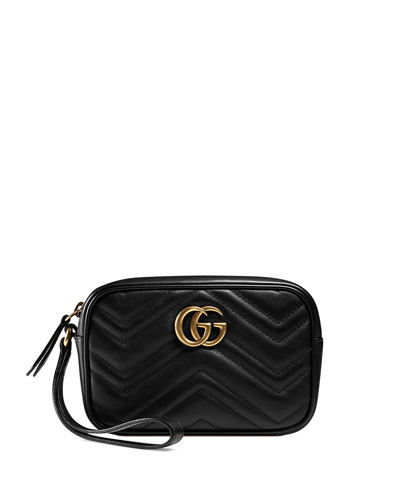 GG Marmont 2.0 Medium Quilted Wristlet, Black
