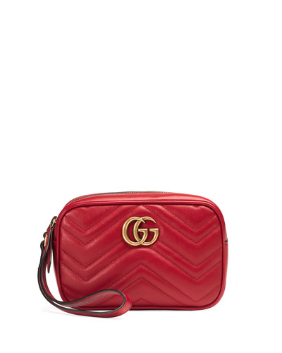 GG Marmont 2.0 Medium Quilted Wristlet, Red