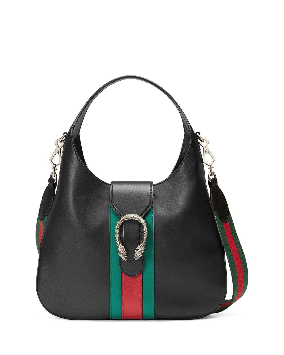 206dfc578395da Gucci Dionysus Medium Web-Stripe Hobo Bag, Black | Neiman Marcus