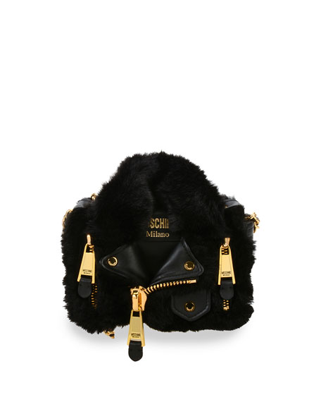 Faux-Fur Small Moto Jacket Shoulder Bag, Black