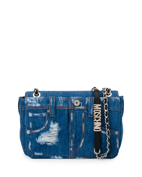 Distressed Denim Shoulder Bag, Denim