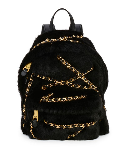Chains Faux-Fur Backpack, Black
