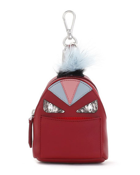 Fendi Mini Monster Backpack Charm for Handbag, Ruby