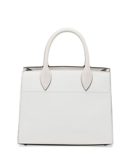 Printed Medium Top-Handle Satchel Bag, White (Talco)