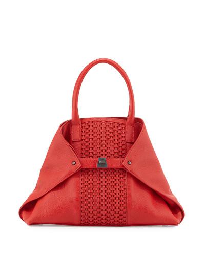 Ai Small Woven Shoulder Bag, Scarlet