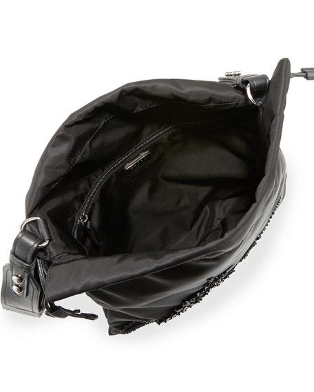 Small Beaded Nylon Drawstring Pouch, Black (Nero)