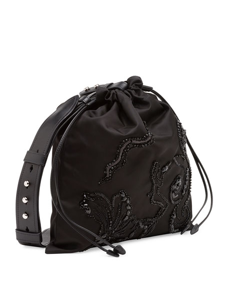 Small Beaded Nylon Drawstring Pouch, Black (Nero)