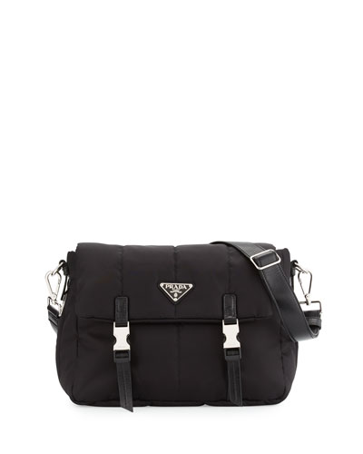 Tesutto Bomber Messenger Bag, Black (Nero)