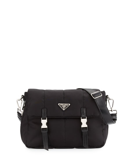 Prada Tesutto Bomber Messenger Bag, Black (Nero)