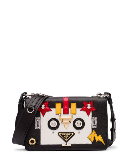 Prada Robot Leather Shoulder Bag, Black/White (Nero/Talco)