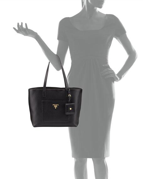 Medium Vitello Daino Open Tote Bag, Black (Nero)