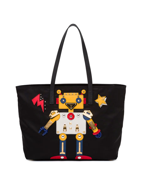 Prada Medium Nylon Robot Tote Bag, Black/Multi (Nero/Multi)