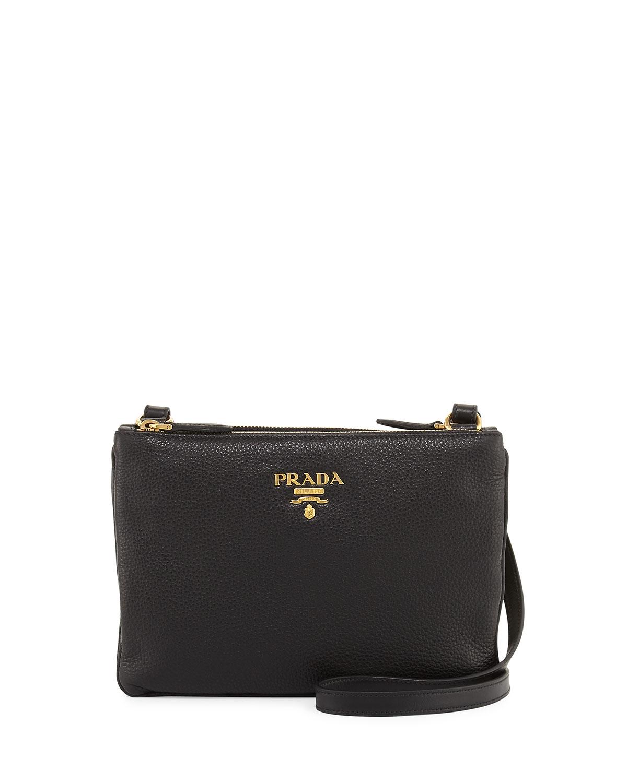 96dec17e955b5f Prada Vitello Daino Double-Zip Crossbody Bag, Black (Nero) | Neiman ...