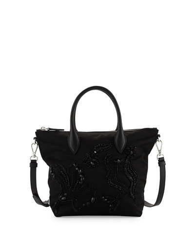 Small Nylon Beaded Tote Bag, Black (Nero)