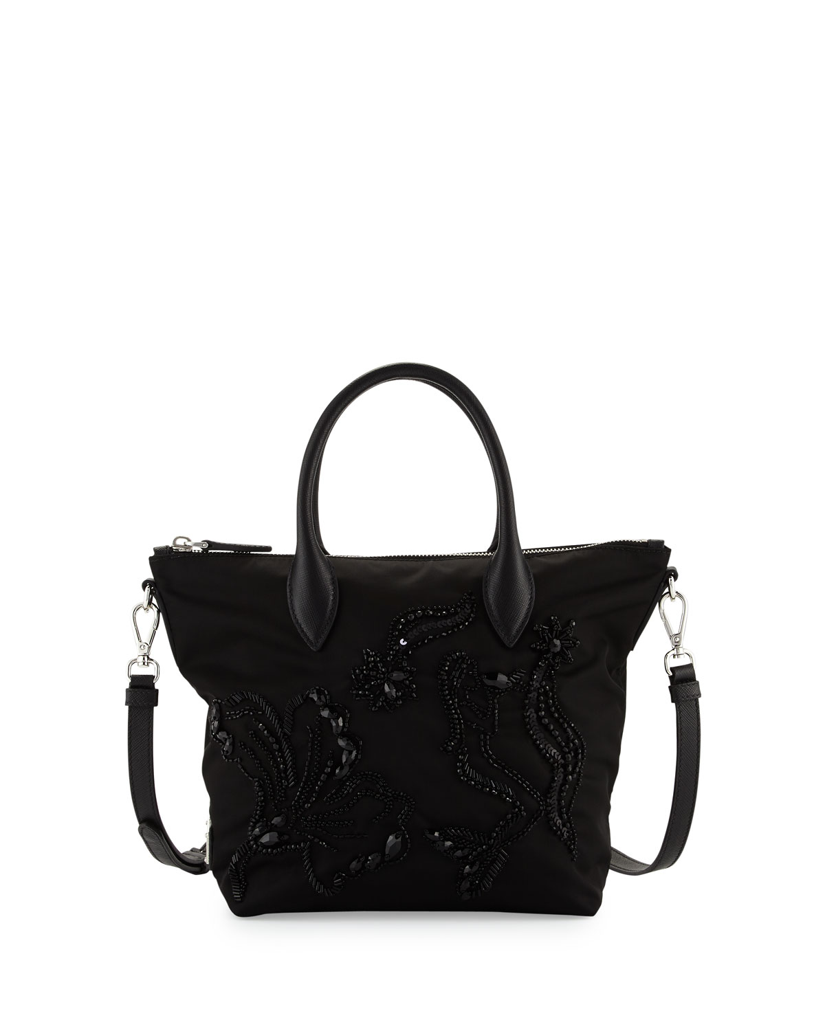 Small Nylon Beaded Tote Bag Black Nero