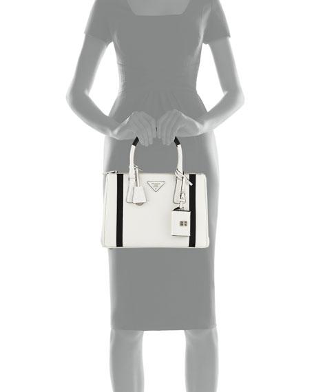 Bicolor Saffiano Lux Tote Bag, White/Black (Bianco/Nero)