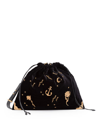 Large Astrology-Embellished Drawstring Hobo Bag, Black (Nero)