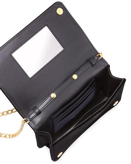 Velvet Chain Shoulder Bag, Black (Nero)