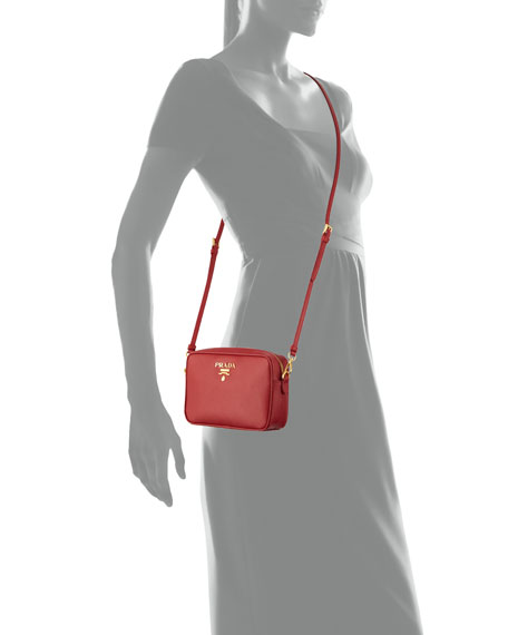 Small Saffiano Camera Crossbody Bag, Red (Fuoco)