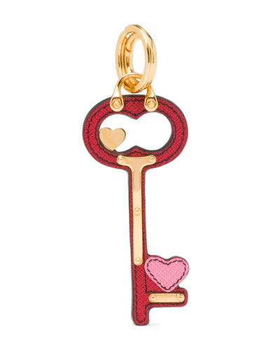 Heart Key Charm, Red/Pink (Fuoco/Begonia)