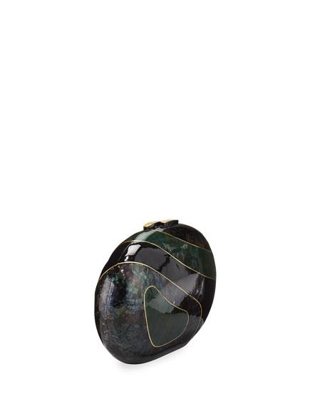 Liz Geometric Oval Minaudiere, Green Tab/Multi
