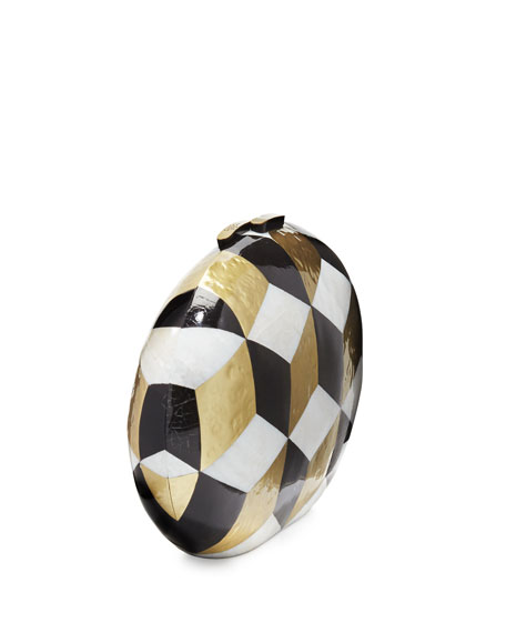 Liz Geometric Oval Minaudiere, Black/White/Gold