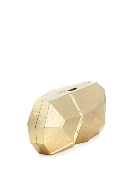 Maryanne Faceted Minaudiere, Gold