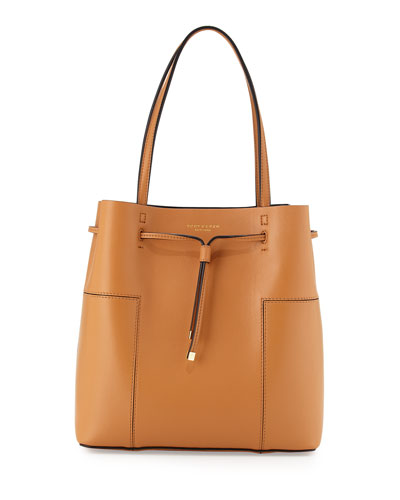 d508cede009 Tory Burch Block-T Leather Bucket Tote Bag, Vachetta