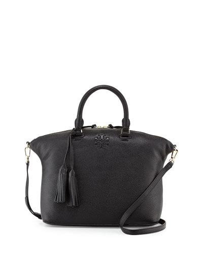 Thea Medium Slouchy Leather Satchel Bag, Black